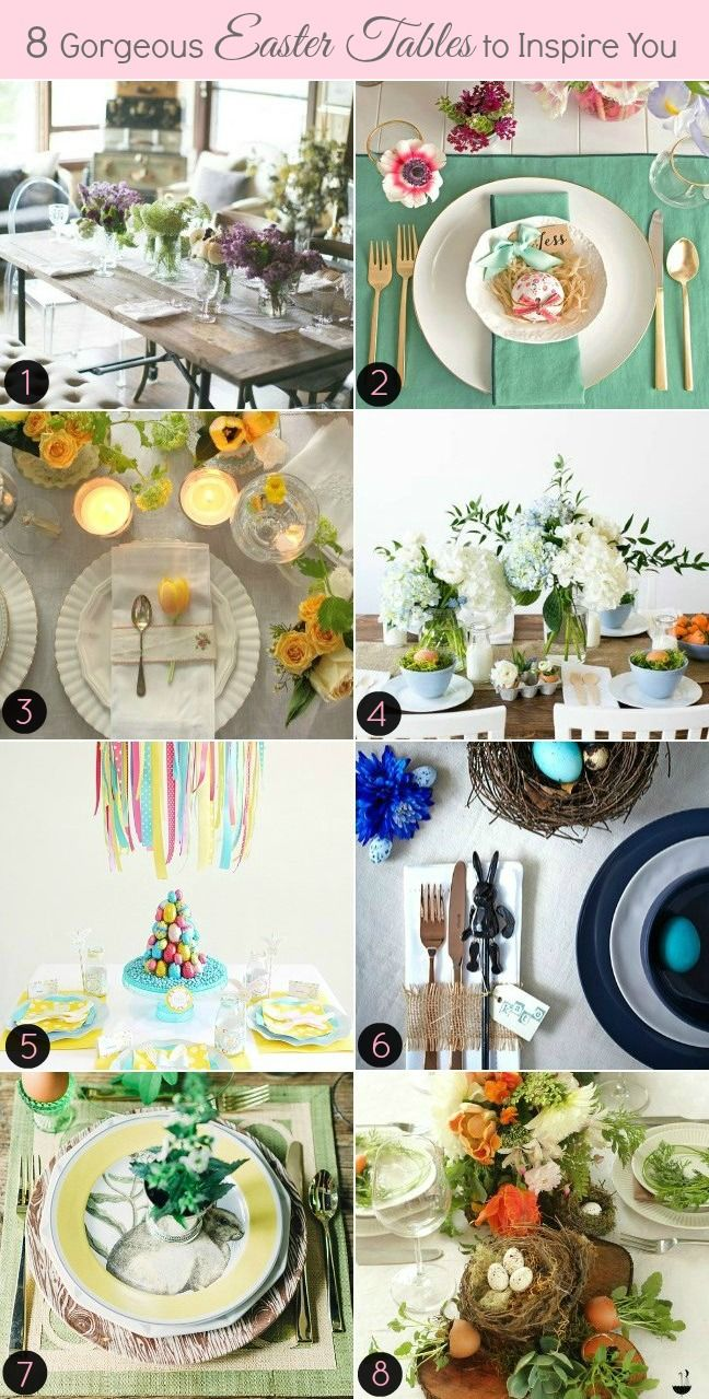 8 INSPIRING EASTER TABLE SETTINGS: Table Settings, Advertise Submissions, Easter Holiday, Easter Goodies, Easter Tablescapes, Tablescapes Ideas, Easter Delight, Easter Ideas