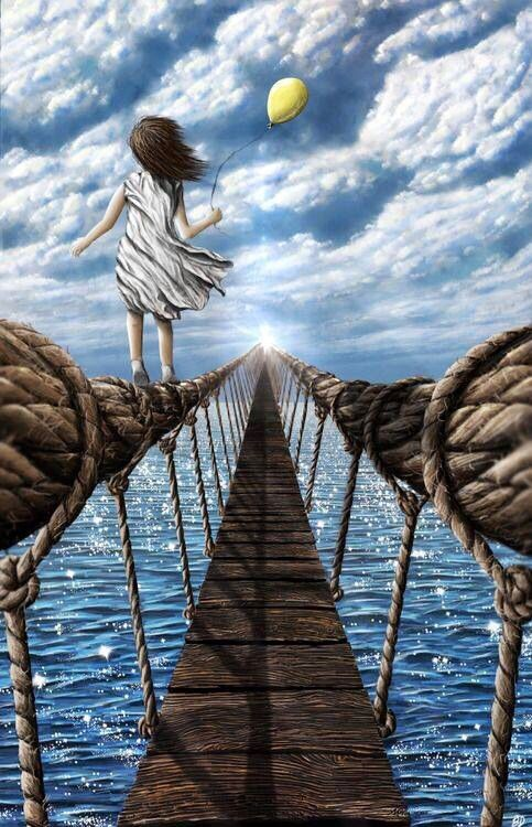 Fantasy art little girl walking on Rope of walk bridge ...