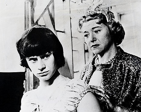 """Jo (Rita Tushingham): """"I hope to be dead and buried by the time I reach your age. Just think you've been living for forty years."""" // Helen (Dora Bryan): """"I know, I must be a biological phenomenon."""" // Jo: """"You don't look forty. You look a sort of well-preserved sixty."""" -- from A Taste of Honey (1961) directed by Tony Richardson"""