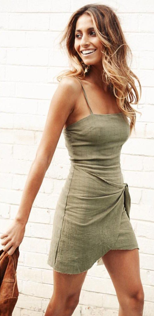 #spring #outfits Khaki Wrap Dress