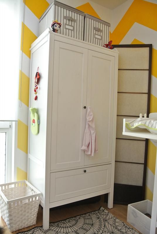 "Closet - Ikea Sundvik $189 // Width: 31 1/2 "" Depth: 19 5/8 "" Height under furniture: 7 1/8 "" Height: 67 3/8 """