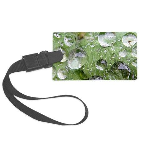 Cool waterdrops on a grean leaf Luggage Tag on CafePress.com by fotosbykarin #luggagetags #waterdrops #photography #fotosbykarin #cafepress #gifts