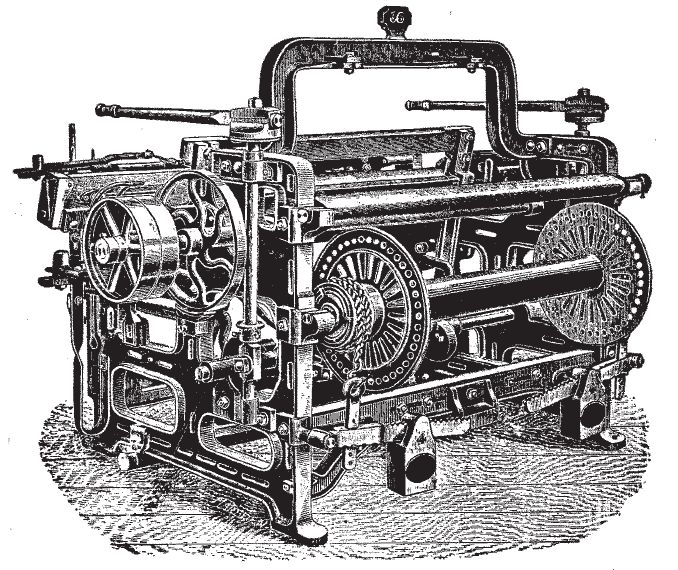 The power loom was a cotton textile device used to expedite the weaving process. Its creation allowed all aspects of textile manufacture to be completed in the same factory.