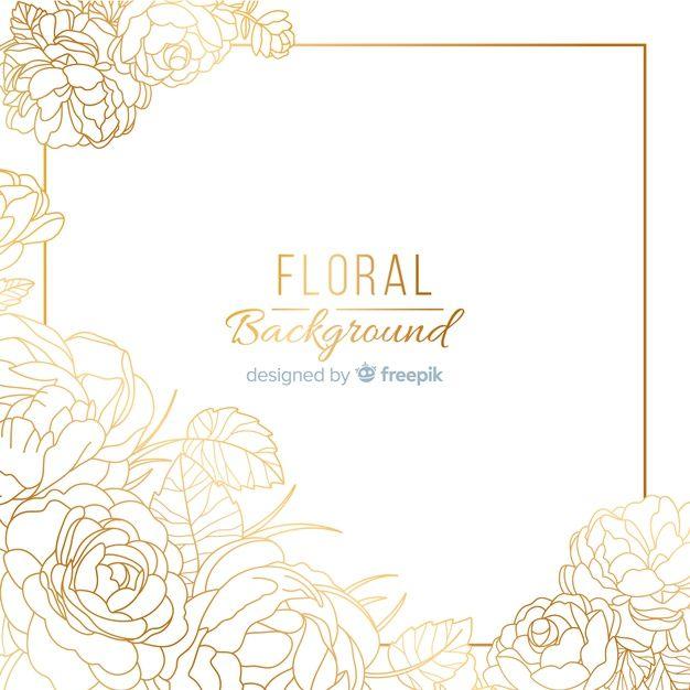 Download Hand Dawn Golden Floral Background For Free Floral Background Vector Free Floral