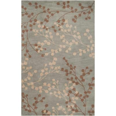 699 Bedroom 100 Wool Rug Home Decorators Collection Blossoms Blue 9 Ft X