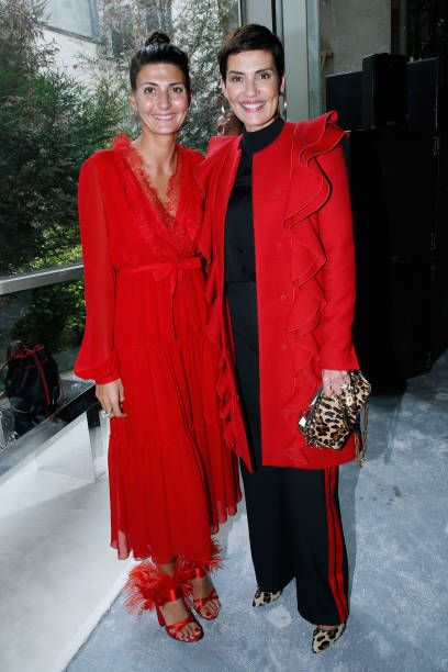Giovanna Battaglia and Cristina Cordula attend the Giambattista Valli show as part of the Paris Fashion Week Womenswear Spring/Summer 2018 on October...