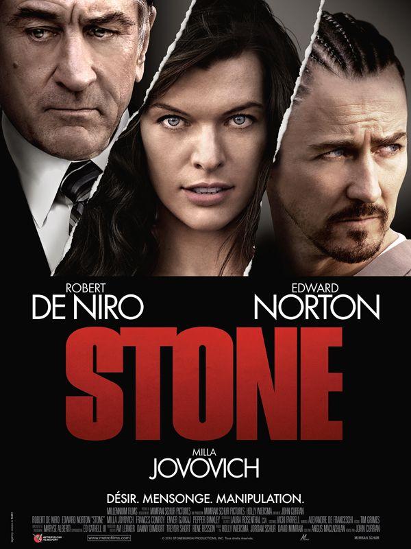 Stone est un thriller américain réalisé par John Curran, sorti fin 2010 aux États-Unis et le 11 mai 2011 en France. À la veille de prendre sa retraite, Jack Mabry, un fonctionnaire de l'administration pénitentiaire, est chargé de revoir le cas de Gerald Creeson, surnommé « Stone », emprisonné pour le meurtre de ses grands-parents. Mais Jack n'est pas convaincu par la défense de Stone. Stone demande alors à Lucetta, sa petite amie, de séduire Jack...