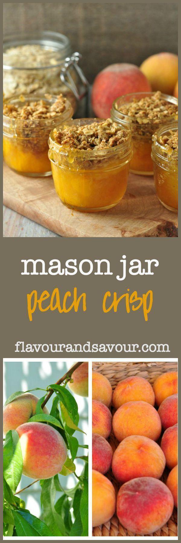 Mason Jar Peach Crisp. Naturally sweet peaches and a crunchy gluten-free topping.