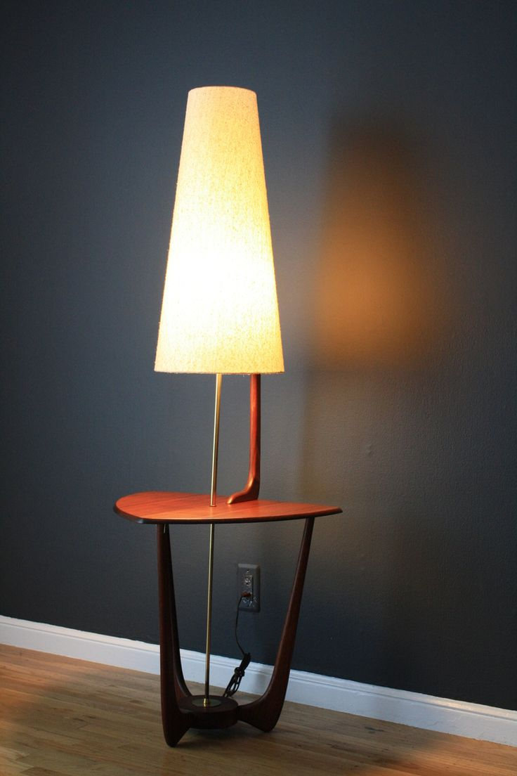Marvelous Mid Century Modern Walnut Floor Lamp With Side Table