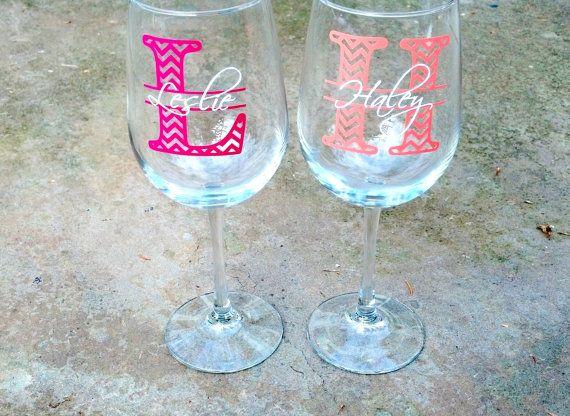 Chevron monogram bridesmaid glass Wine glass by WaterfallDesigns, $10.00
