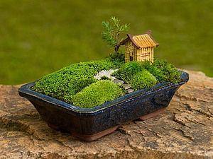 Миниатюрный сад на окошке - Мятное настроение - декор бутылок - Ярмарка Мастеров