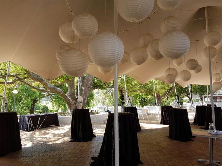 Cocktails under stretch tent