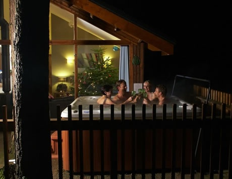 New Year in in style! When the clock strikes midnight you could be enjoying a glass of bubbly in your own private hot tub.