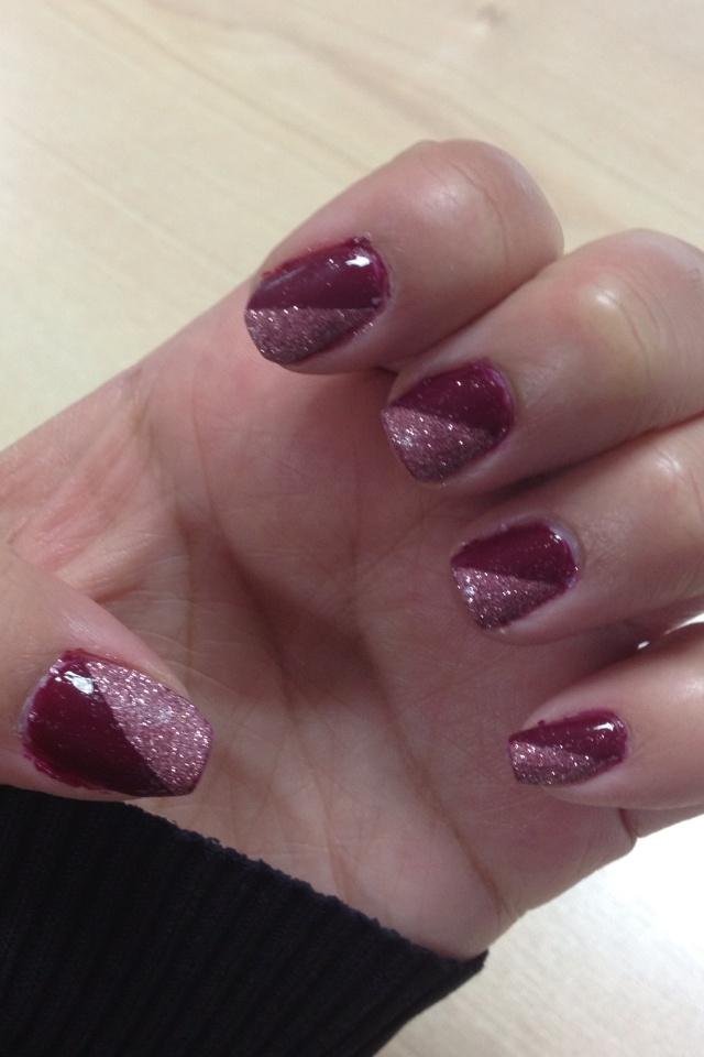 Messy nails! Half polish, half loose glitter!