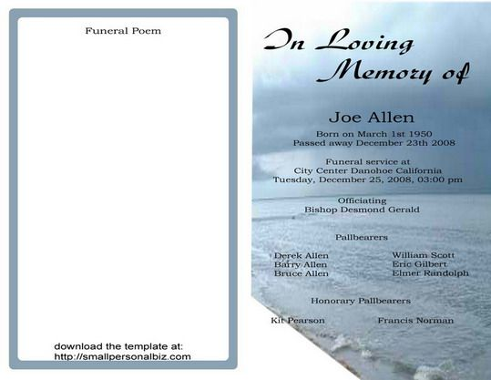 free funeral program templates find sample funeral program for service ceremony obituary and. Black Bedroom Furniture Sets. Home Design Ideas