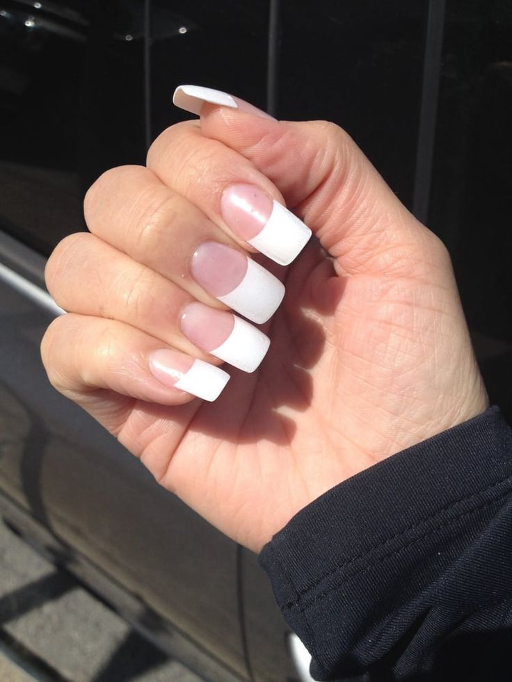 Photo of Sunshine Nails - San Francisco, CA, United States. White tips, gel powder, with gel overlay.... Yes, I like them long and glamorous (this way I can shorten them when I want too ;)
