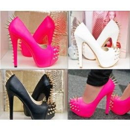 LUXUS PEEP TOES PUMPS HIGH HEELS IN NEON PINK ROSA MIT GOLD NIETEN ROTE SOHLE $54.09