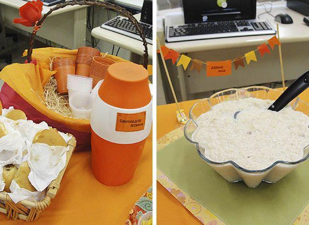 Decoração de festa junina laranja. Outra sugestão é colocar nome em cada prato, além de ficar super fofo ajuda os convidados.