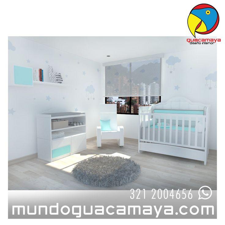 Cuna convertible en cama semidoble, blanco con turquesa, mecedora de lactancia. decoración nubes y estrellas
