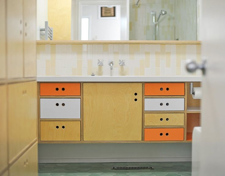 The vertical subway tiles Tile by Style: Mod About Midcentury Bathrooms.  Bathroom Vanity With SinkModern ... - 17 Best Ideas About Midcentury Bathroom Mirrors On Pinterest