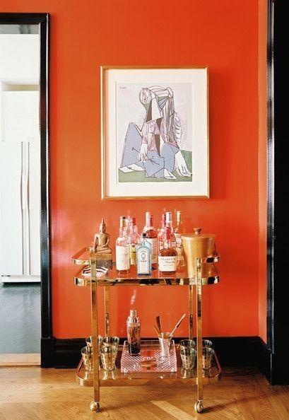 Color Therapy Orange Walls 20 photos Messagenote.com the warm tones in deep orange walls and goldframed artwork.