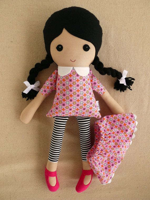 Fabric Doll Rag Doll Black Haired Girl in Pink by rovingovine