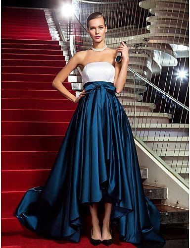 Vestito - Multicolore Ballo Militare/Sera Trapezio/Stile Principessa Senza Spalline Asimmetrico Raso Taglie grandi del 2015 a €90.24