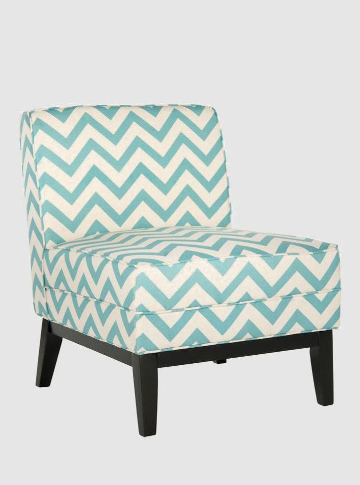 Amelia Accent Chair In Blue. Chevron ...