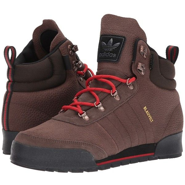 adidas Skateboarding Jake Boot 2.0 (Brown/Scarlet/Core Black Leather)... ($88) ❤ liked on Polyvore featuring men's fashion, men's shoes, men's boots, mens black lace up boots, mens leather boots, mens leather shoes, mens shoes and mens black leather shoes