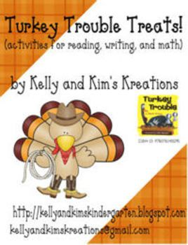 """""""Turkey Trouble Treats!"""" includes turkey-themed reading, writing, and math activities for kindergarten and first grade classrooms! This pack combines reading lesson ideas and materials to use after reading Turkey Trouble, by Wendi Silvano, plus another turkey-themed math game that will keep your students engaged and motivated to learn. $4"""