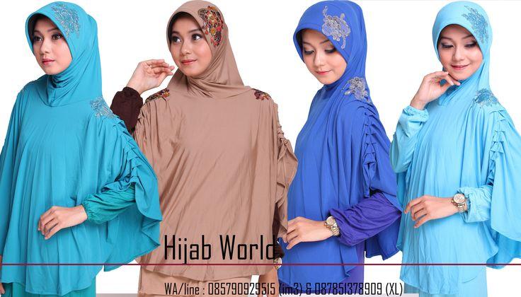 Jilbab syar'i Bahan jersey dengan kombinasi brocade dibagian bahu dan pet, kode JB-DRS sms/wa 0821.4284.5152 http://jilbabstation.com