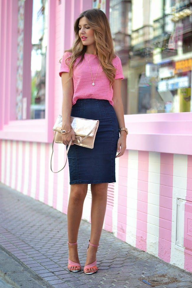 pink gingham top and blue pencil skirt
