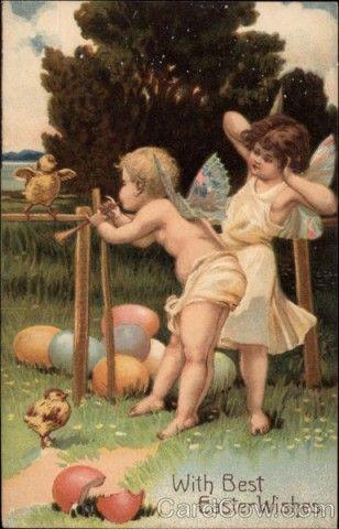 Винтажные открытки. Ангелы и нимфы (продолжение).