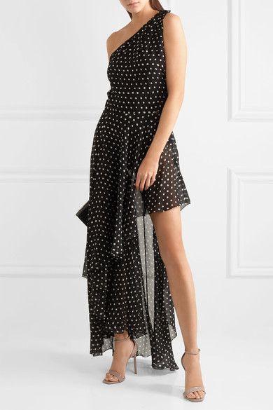 Saint Laurent - One-shoulder Asymmetric Polka-dot Silk-georgette Gown - Black - FR