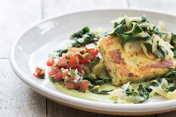 Chickpea cakes with avocado mousse, fennel and silverbeet saute and tomato salsa – Recipes – Bite