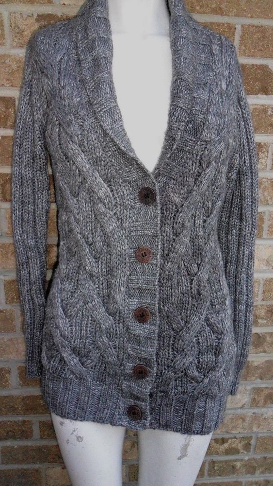 UGG Shawl Collar Cable Knit Cardigan Sweater Gray Wooden Buttons Closure Sz  XS in 2018  53e9baf4c