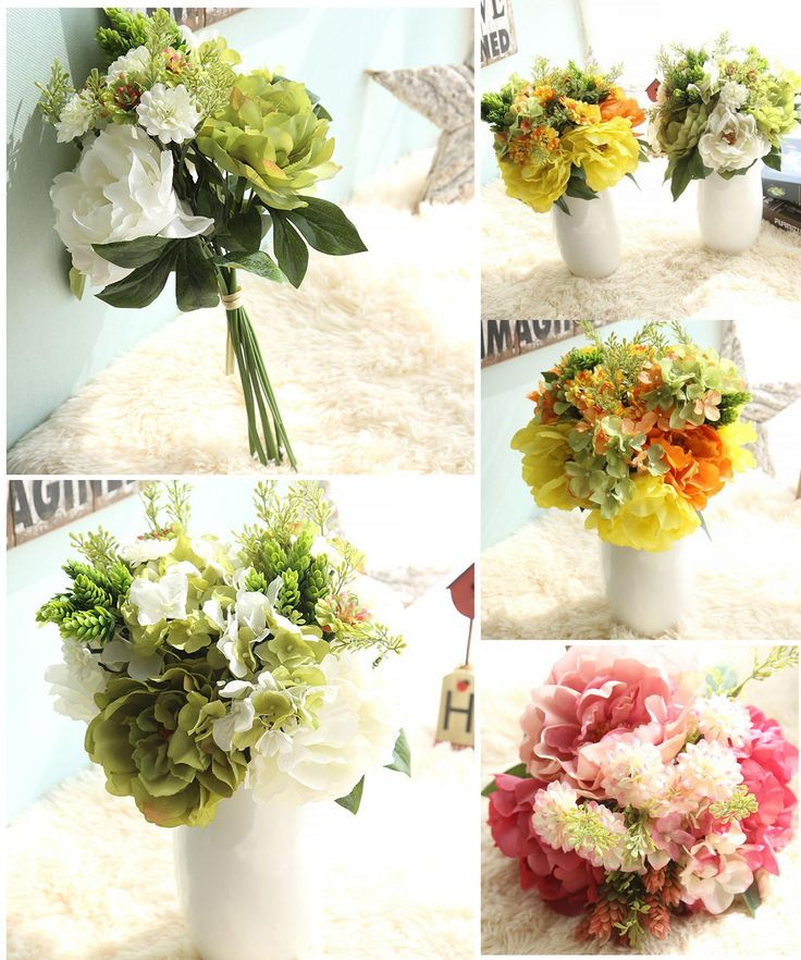 [Visit to Buy] 2017 High Quality Artificial Fake Flowers Leaf Peony Floral Wedding Bouquet Bridal Hydrangea Party Decor Flores falsas #555 #Advertisement