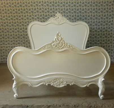 Louis XV French Bed.  Double size mattress only. Antique White Delivery included in price UK only Delivery is Flat packed with 4 pieces Other sizes are available. Visit Us http://www.frenchrococofurniture.co.uk/french-furniture/french-beds/louis-xv-french-bed-white.html