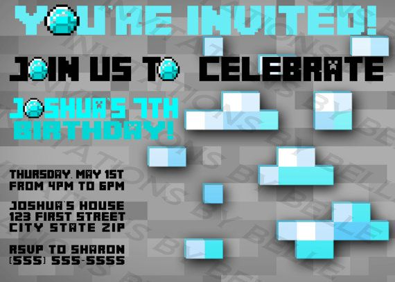 14 best birthday invitations images on pinterest birthday minecraft diamonds invitation stopboris Images