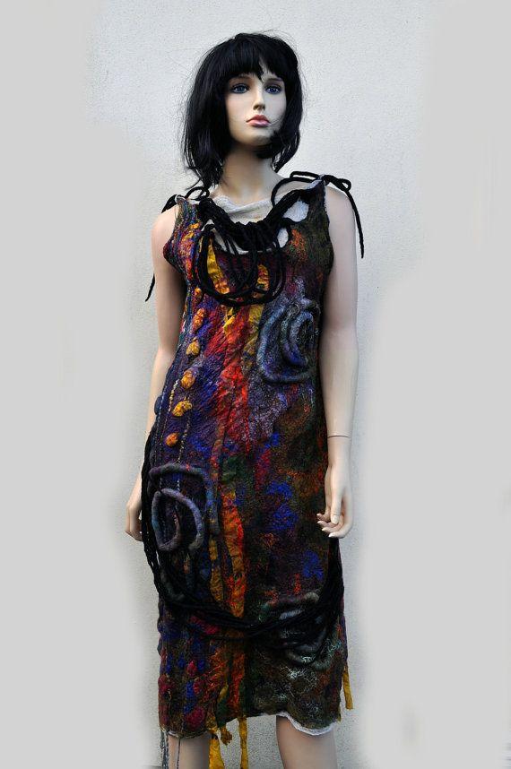 Dress, felted, felt, wool, cotton gauze, fibre art, gift, size Medium, red, brown, yellow, green, blue, black, purple