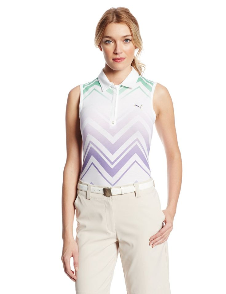 Dri release fabrication on this womens NA refraction sleeveless golf polo shirt by Puma helps draw moisture away from the skin and freshguard to help neutralize odors