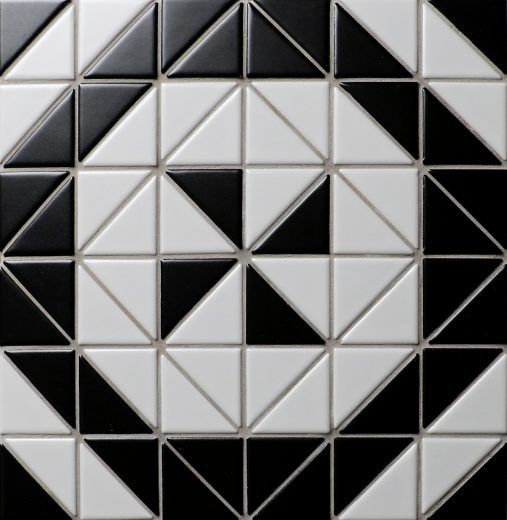 Windmill series porcelain 2'' black white triangle mosaic tiles for sale, ideal for house deocration, wall and floors