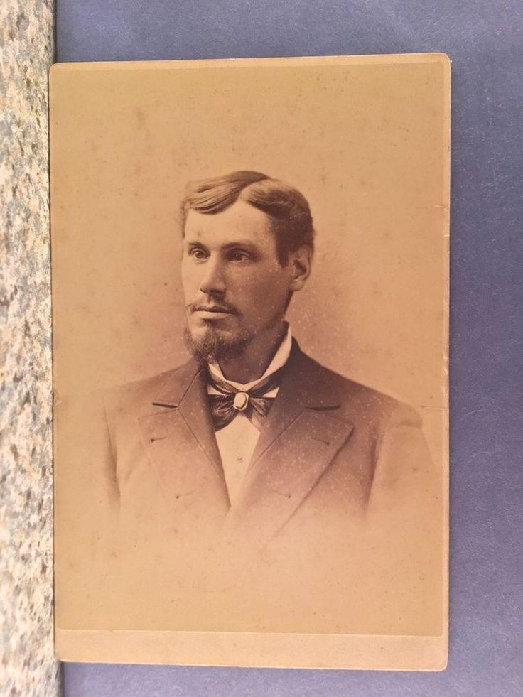 CABINET CARD PHOTO MAN, GOATEE, PENCIL MUSTACHE, BOLO TIE, NY,NY