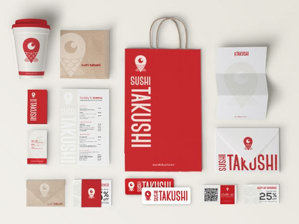 Sushi Takushi is a school assignment consisting of brand identity for a conceptual food truck that specializes in sushi and Japanese cuisine.