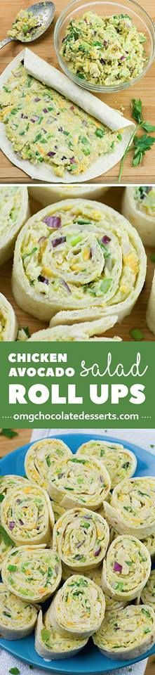 Chicken Avocado Salad Roll Ups Ingredients 2 cups shredded chicken 1 ripe avocado-mashed 3 tablespoons plain Greek yogurt  2 tablespoons lime juice 2 tablespoons finely diced red onion 2 green onion-sliced black pepper- to taste ¼ teaspoon salt ½ teaspoon garlic powder 1 ½ tablespoon fresh cilantro or parsley- chopped ½ cup shredded Cheddar cheese 6 Tortillas 10'' Combine all ingredients,Stir until evenly blended.  Spread the mixture over tortilla and and roll up tightly.