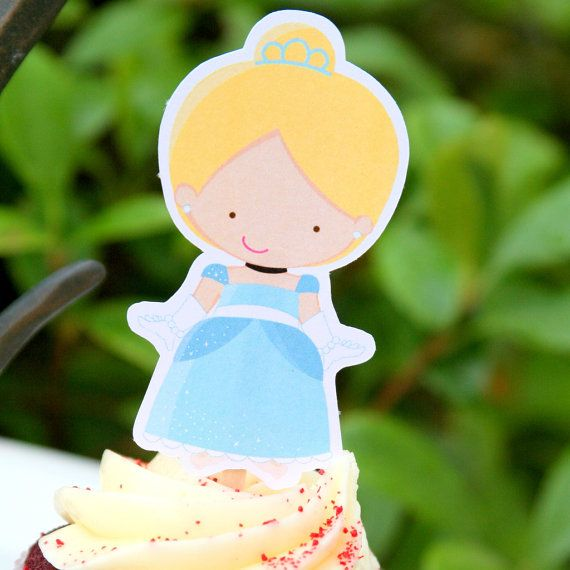 Cinderella Party Cupcake Toppers Set of 12