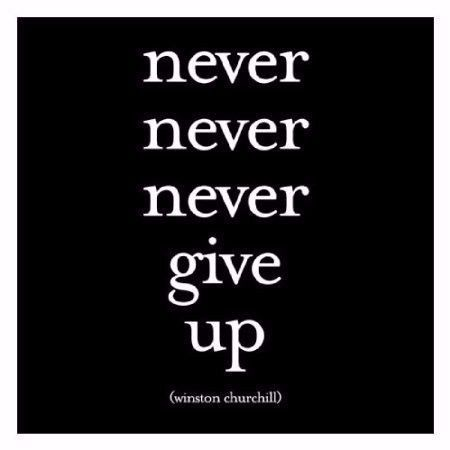 "Quotable Card Winston Churchill ""Never Never Never Give Up"""