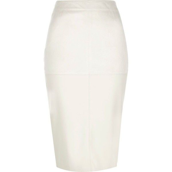 River Island Cream faux suede pencil skirt ($64) ❤ liked on Polyvore featuring skirts, river island, cream, tube / pencil skirts, women, white fitted skirt, tube skirt, panel skirt and colorblock pencil skirt