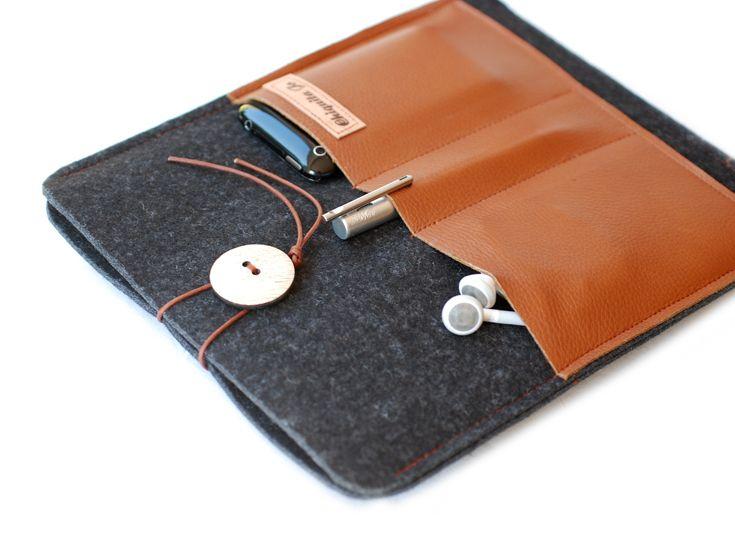 Tablet-PC-Taschen - Filz&Leder Hülle für das IPAD mit 3 Fächern! - ein Designerstück von Chiquita-Jo bei DaWanda