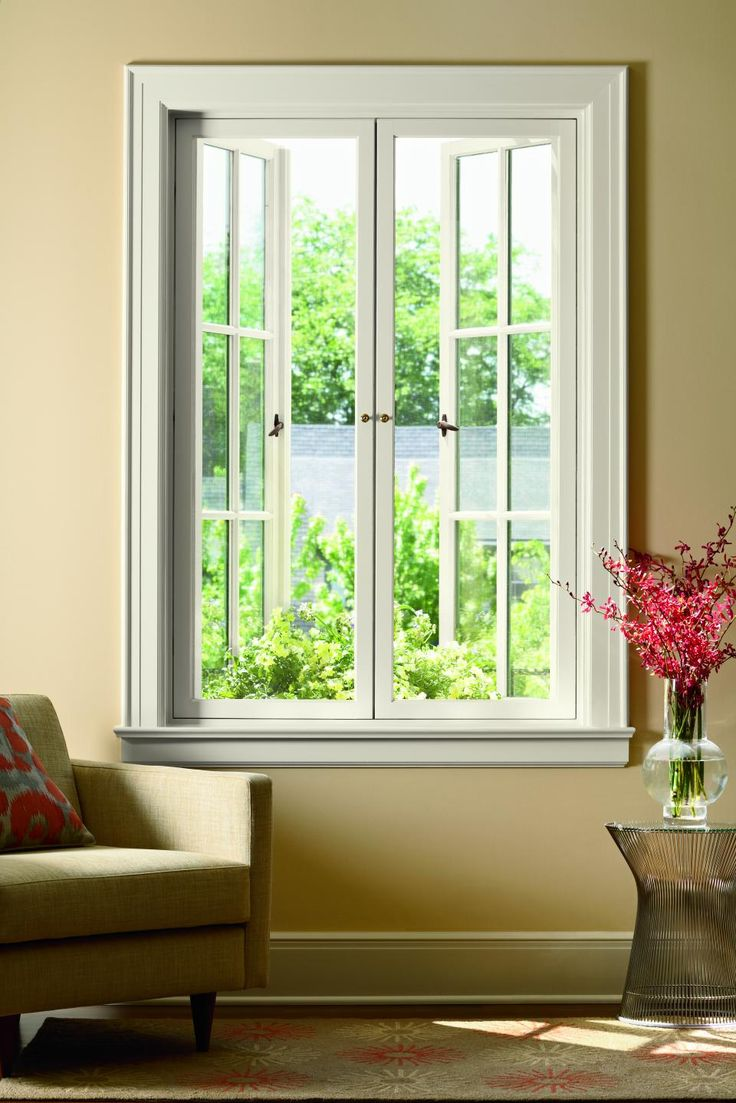 French casement windows photos houzz - Out Swing Double Door Aluclad Wood Casement Windows With Blanc Interior Finish By Marvin